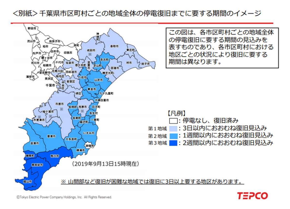 千葉県台風による停電の状況